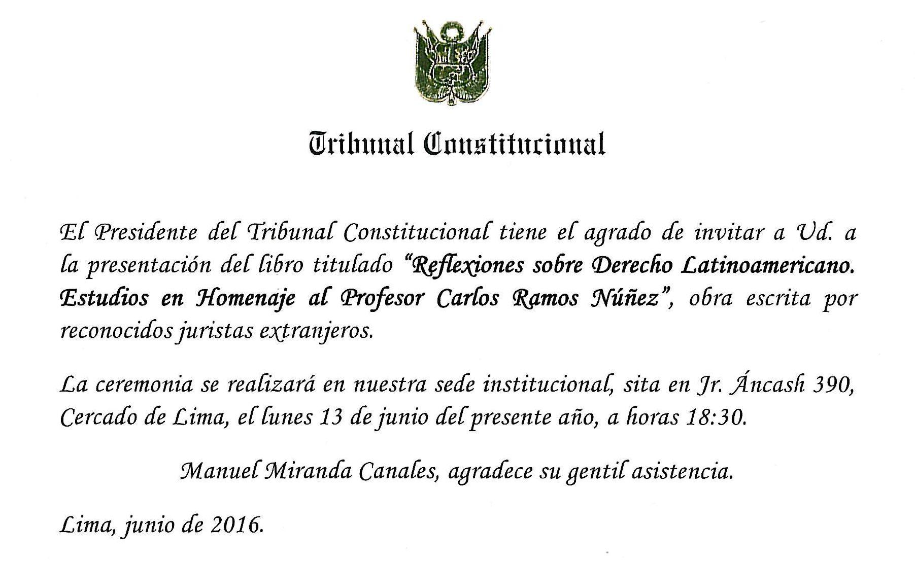Invitación a la presentación del libro Presentarán libro Reflexiones sobre derecho latinoamericano. Estudios en homenaje al profesor Carlos Ramos Núñez