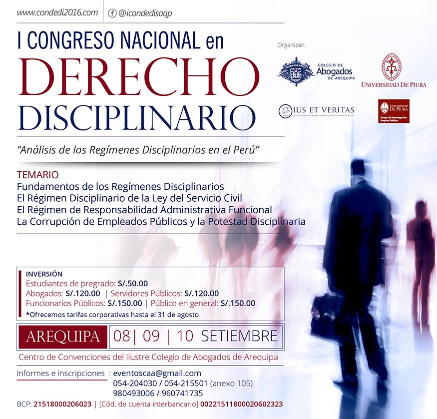 I Congreso Nacional en Derecho Disciplinario «Análisis de los Regímenes Disciplinarios en el Perú» Legis.pe-Pasion por el derecho